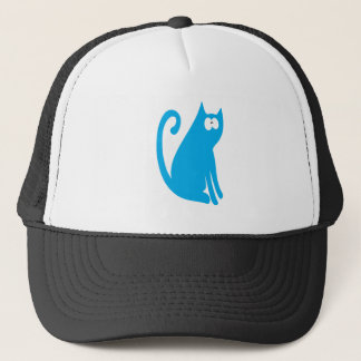 Cat Sit And Look Back Blue Wtf Eyes Trucker Hat