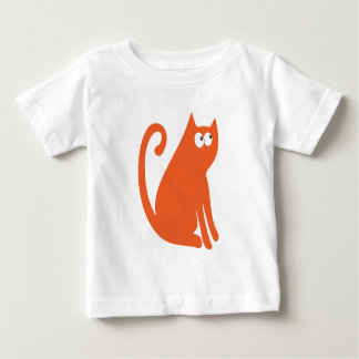 Cat Sit And Look Back Orange Look Up There Eyes Baby T-Shirt