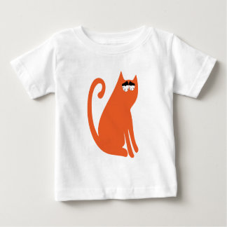 Cat Sit And Look Back Orange So Tired Eyes Baby T-Shirt
