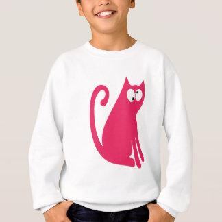 Cat Sit And Look Back Pink Topsy Turvey Eyes Sweatshirt