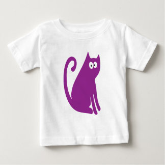 Cat Sit And Look Back Purple Hello Eyes Baby T-Shirt