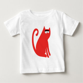 Cat Sit And Look Back Red So Tired Eyes Baby T-Shirt