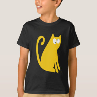 Cat Sit And Look Back Yellow Topsy Turvey Eyes T-Shirt