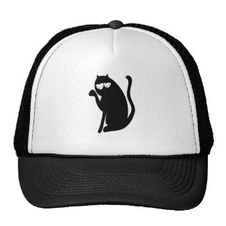 Cat Sit Pointing Black So Tired Eyes Mesh Hats