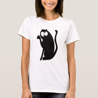 Cat Sit Pointing Black Topsy Turvey Eyes T-Shirt