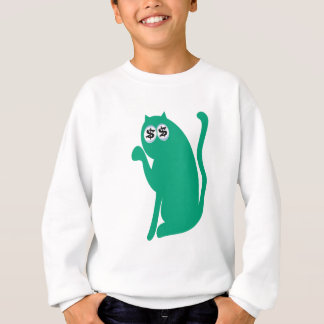 Cat Sit Pointing Green Cash Eyes Blue Sweatshirt