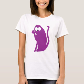 Cat Sit Pointing Purple Topsy Turvey Eyes T-Shirt
