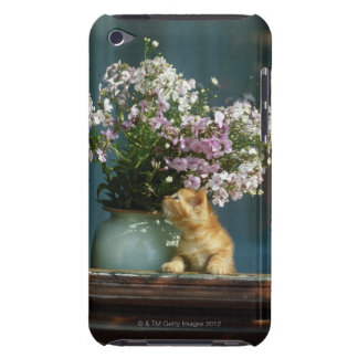 Cat sitting besides flower vase on window sill Case-Mate iPod touch case