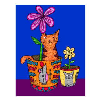 Cat Sitting in a Flower Pot Postcards