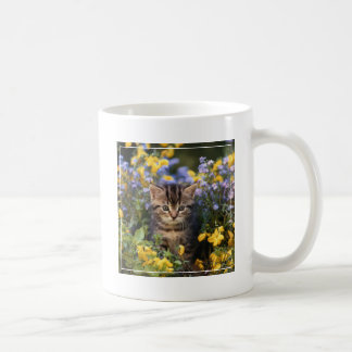 Cat Sitting In Flower Garden Coffee Mug