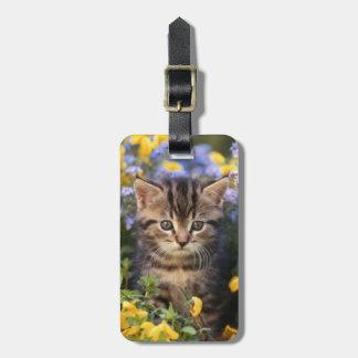 Cat Sitting In Flower Garden Luggage Tag