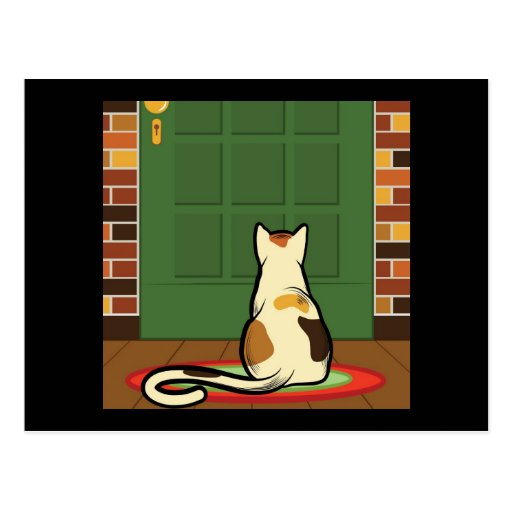 Cat sitting in front of a green door post cards