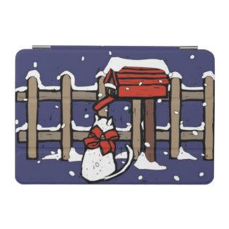 Cat sitting near a mailbox in snowfall iPad mini cover