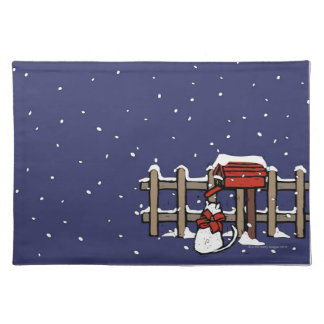 Cat sitting near a mailbox in snowfall placemat