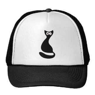 Cat Sitting Turnaround Black Manic Bloodshot Eyes Trucker Hat