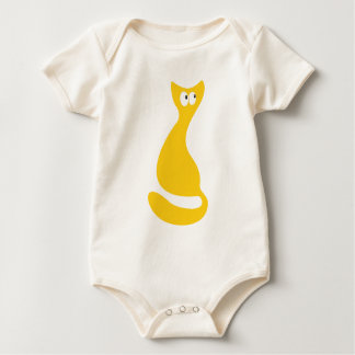 Cat Sitting Turnaround Yellow Look Up There Eyes Baby Bodysuit