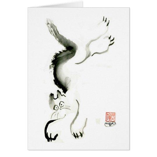Cat Skedaddle, Sumi-e cat Card