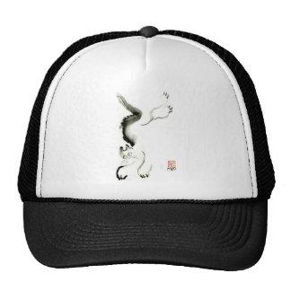 Cat Skedaddle Sumi-e cat Trucker Hats
