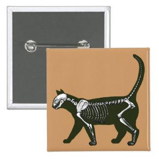 Cat Skeleton 15 Cm Square Badge