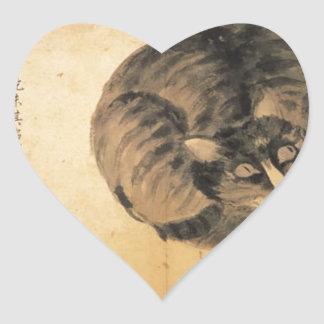 Cat (Sketches from Life) by Shen Zhou Heart Sticker
