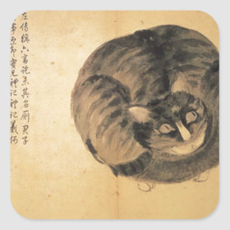 Cat (Sketches from Life) by Shen Zhou Square Sticker