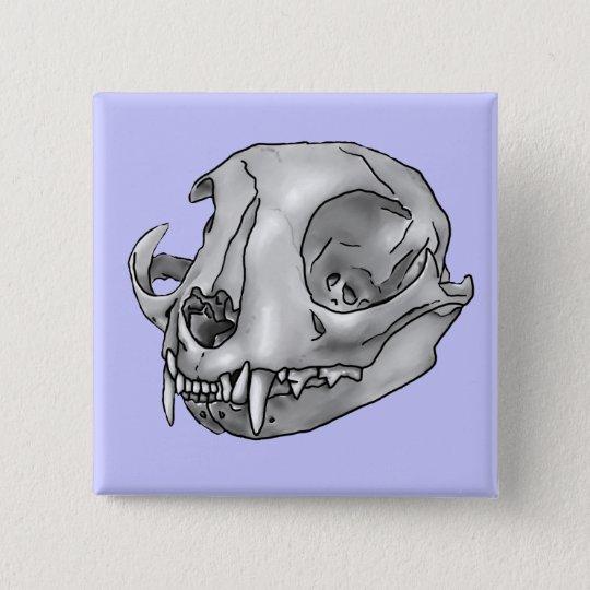 cat skull 15 cm square badge
