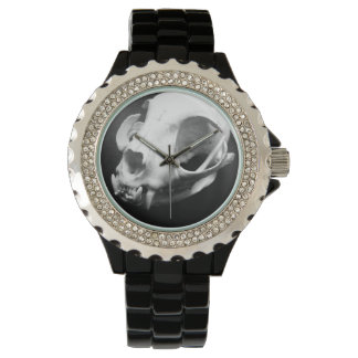 Cat Skull Gothic Rhinestone Black Wrist Watch