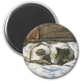 Cat Sleeping on a Bed by Claude Monet 6 Cm Round Magnet