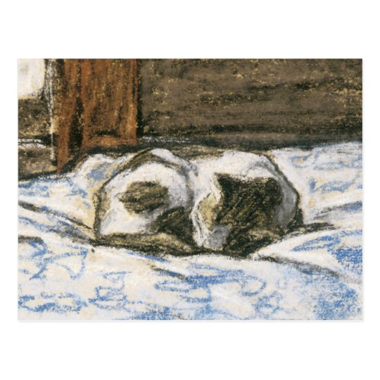 Cat Sleeping on a Bed by Claude Monet