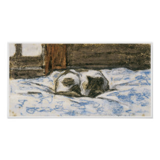 Cat Sleeping on a Bed by Claude Monet Poster