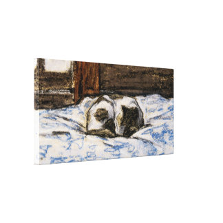 Cat Sleeping on a Bed Stretched Canvas Prints