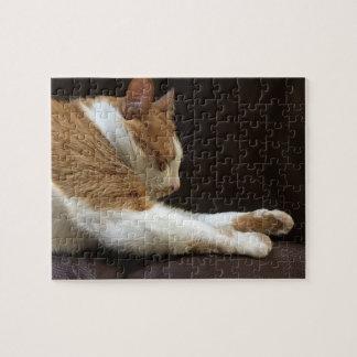 Cat sleeping on sofa jigsaw puzzle