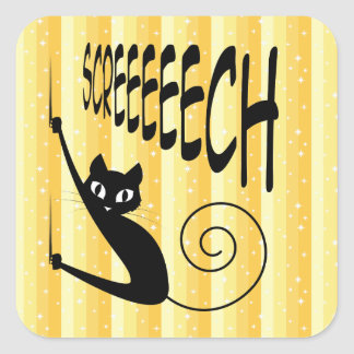 Cat Sliding Down the Wall on Screeching Claws Square Sticker
