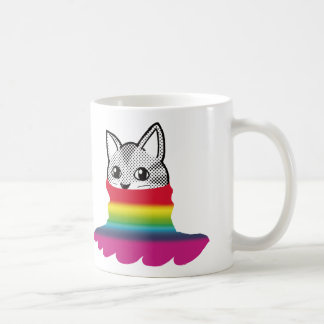 Cat Smiley Turtleneck Rainbow B Coffee Mugs