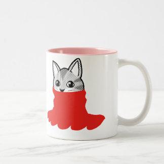Cat Smiley Turtleneck Red Mugs