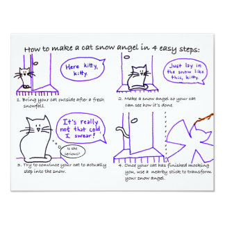 Cat Snow Angel Invitation