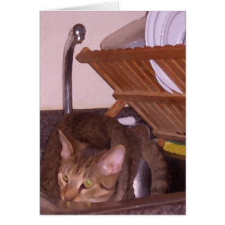 Cat Sous-Chef Hiding in the Sink CricketDiane Greeting Card