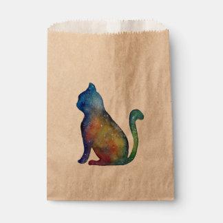 Cat Space Watercolor Custom Kraft Favor Bag