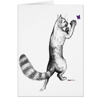 Cat Springing Note Card