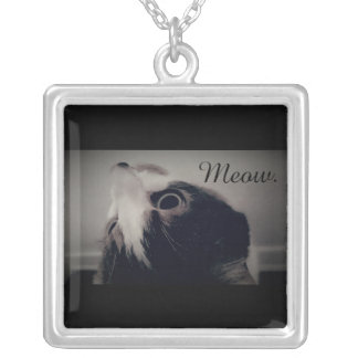 Cat Square Silver Plated Necklace