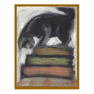 Cat Standing on Books - brown Postcard