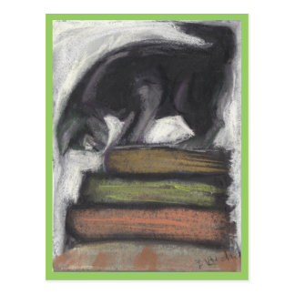 Cat Standing on Books - green Postcard