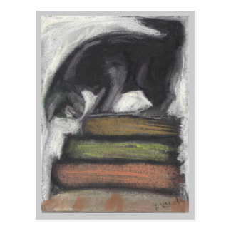 Cat Standing on Books - grey Postcard