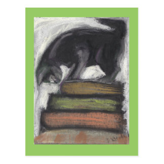 Cat Standing on Books Postcard