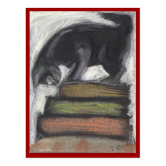 Cat Standing on Books- red border Postcard
