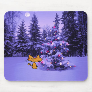 Cat Stands Bay A Christmas Tree Mousepad