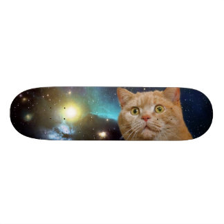 Cat staring at the universe 20.6 cm skateboard deck