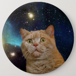 Cat staring at the universe 6 cm round badge