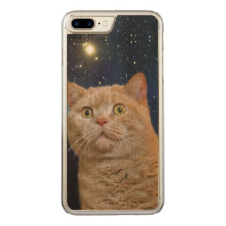 Cat staring at the universe carved iPhone 8 plus/7 plus case