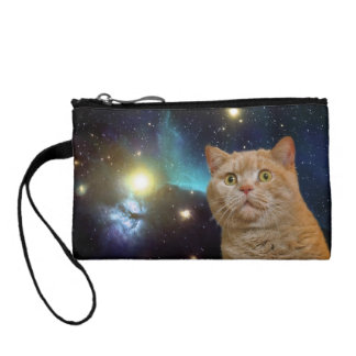 Cat staring at the universe coin wallets